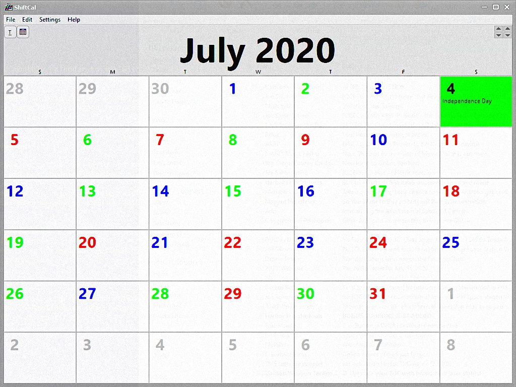 Monthly calendar with messages: July 2020